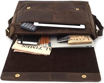 LEABAGS Oxford Umhängetasche Laptoptasche 15 Zoll aus Leder im Vintage Look, Maße (BxHxT): ca. 38x31x10 cm, Braun Like Muskat - 5