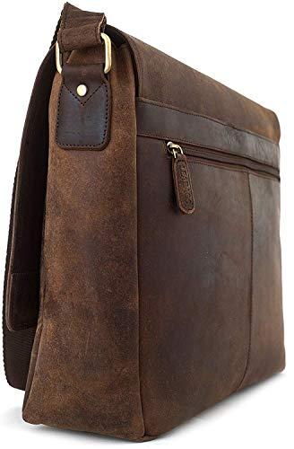LEABAGS Oxford Umhängetasche Laptoptasche 15 Zoll aus Leder im Vintage Look, Maße (BxHxT): ca. 38x31x10 cm, Braun Like Muskat - 7