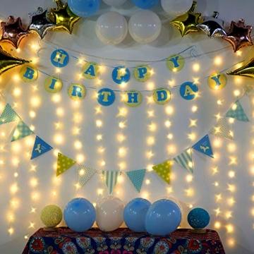 LED Fenster Vorhang Lichter, Foto Hintergrund Lichter Warmweiße Twinkle Lichterketten mit Fernbedienung für Hochzeitsfeier Schlafzimmer Wand Weihnachten 6,5 x 5 ft - 3