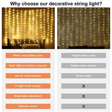 LED Fenster Vorhang Lichter, Foto Hintergrund Lichter Warmweiße Twinkle Lichterketten mit Fernbedienung für Hochzeitsfeier Schlafzimmer Wand Weihnachten 6,5 x 5 ft - 6