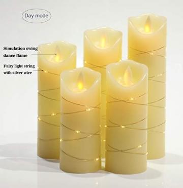 LED flammenlose Kerze, mit eingebetteter Lichterkette, 5-teiliger LED-Kerze, Fernbedienung mit 10 Tasten, 24-Stunden-Timer-Funktion, tanzende Flamme, echtes Wachs, batteriebetrieben. (Elfenbeinweiß) - 2