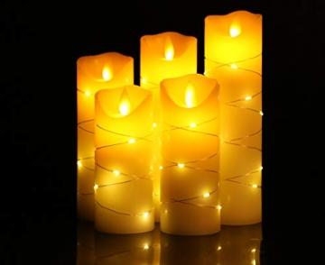 LED flammenlose Kerze, mit eingebetteter Lichterkette, 5-teiliger LED-Kerze, Fernbedienung mit 10 Tasten, 24-Stunden-Timer-Funktion, tanzende Flamme, echtes Wachs, batteriebetrieben. (Elfenbeinweiß) - 3