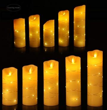 LED flammenlose Kerze, mit eingebetteter Lichterkette, 5-teiliger LED-Kerze, Fernbedienung mit 10 Tasten, 24-Stunden-Timer-Funktion, tanzende Flamme, echtes Wachs, batteriebetrieben. (Elfenbeinweiß) - 4