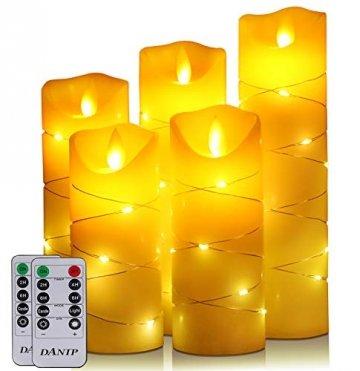 LED flammenlose Kerze, mit eingebetteter Lichterkette, 5-teiliger LED-Kerze, Fernbedienung mit 10 Tasten, 24-Stunden-Timer-Funktion, tanzende Flamme, echtes Wachs, batteriebetrieben. (Elfenbeinweiß) - 1