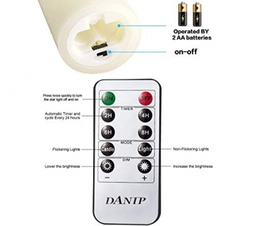LED flammenlose Kerze, mit eingebetteter Lichterkette, 5-teiliger LED-Kerze, Fernbedienung mit 10 Tasten, 24-Stunden-Timer-Funktion, tanzende Flamme, echtes Wachs, batteriebetrieben. (Elfenbeinweiß) - 5