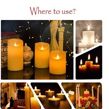 LED-Kerzen, flammenlose Kerzen, flammenloses kerzenlichter,10,2 cm, 12,7 cm, 15,2 cm, Echtwachskerze, Stumpenkerze, Fernbedienung mit 10 Tasten, mit 24-Stunden-Zeitschaltuhr - 2