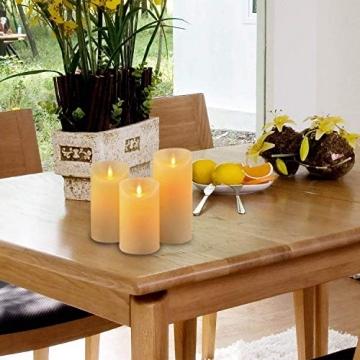 LED-Kerzen, flammenlose Kerzen, flammenloses kerzenlichter,10,2 cm, 12,7 cm, 15,2 cm, Echtwachskerze, Stumpenkerze, Fernbedienung mit 10 Tasten, mit 24-Stunden-Zeitschaltuhr - 3