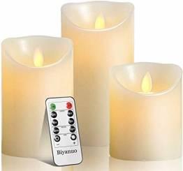 LED-Kerzen, flammenlose Kerzen, flammenloses kerzenlichter,10,2 cm, 12,7 cm, 15,2 cm, Echtwachskerze, Stumpenkerze, Fernbedienung mit 10 Tasten, mit 24-Stunden-Zeitschaltuhr - 1