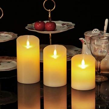LED-Kerzen, flammenlose Kerzen, flammenloses kerzenlichter,10,2 cm, 12,7 cm, 15,2 cm, Echtwachskerze, Stumpenkerze, Fernbedienung mit 10 Tasten, mit 24-Stunden-Zeitschaltuhr - 4