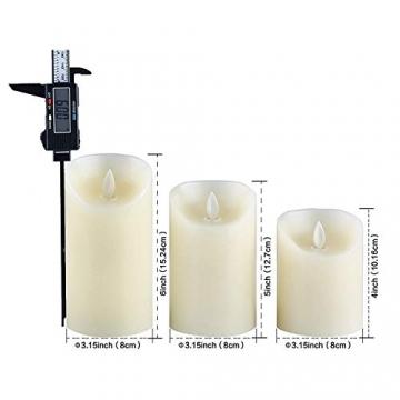 LED-Kerzen, flammenlose Kerzen, flammenloses kerzenlichter,10,2 cm, 12,7 cm, 15,2 cm, Echtwachskerze, Stumpenkerze, Fernbedienung mit 10 Tasten, mit 24-Stunden-Zeitschaltuhr - 6