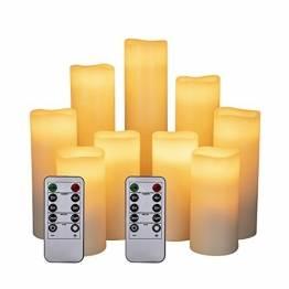 """LED Kerzen Set von 9 Flammenlose Kerzen Batteriebetriebene Kerzen D2.2xH 4""""5"""" 6""""7"""" 8""""9"""" Echtwachssäule Kerzen Flackern mit Fernbedienung und Timer-Steuerung, Elfenbein Farbe(9x1) - 1"""