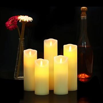 LED Kerzen,Flammenlose Kerzen 12/15/17/20/22CM Set aus 5 Echtwachs mit realistischen tanzenden LED Flammen und 10-Tasten Fernbedienung mit 2/4/6/8-Stunden Timer,300+ Stunden-YIWER (Elfenbein, 5×1) - 2