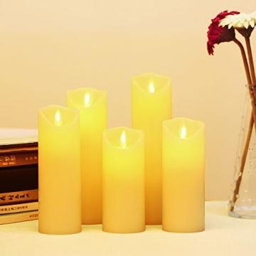 LED Kerzen,Flammenlose Kerzen 12/15/17/20/22CM Set aus 5 Echtwachs mit realistischen tanzenden LED Flammen und 10-Tasten Fernbedienung mit 2/4/6/8-Stunden Timer,300+ Stunden-YIWER (Elfenbein, 5×1) - 3