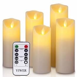LED Kerzen,Flammenlose Kerzen 12/15/17/20/22CM Set aus 5 Echtwachs mit realistischen tanzenden LED Flammen und 10-Tasten Fernbedienung mit 2/4/6/8-Stunden Timer,300+ Stunden-YIWER (Elfenbein, 5×1) - 1