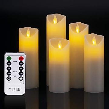 LED Kerzen,Flammenlose Kerzen 12/15/17/20/22CM Set aus 5 Echtwachs mit realistischen tanzenden LED Flammen und 10-Tasten Fernbedienung mit 2/4/6/8-Stunden Timer,300+ Stunden-YIWER (Elfenbein, 5×1) - 4