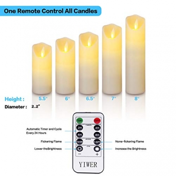 LED Kerzen,Flammenlose Kerzen 12/15/17/20/22CM Set aus 5 Echtwachs mit realistischen tanzenden LED Flammen und 10-Tasten Fernbedienung mit 2/4/6/8-Stunden Timer,300+ Stunden-YIWER (Elfenbein, 5×1) - 5