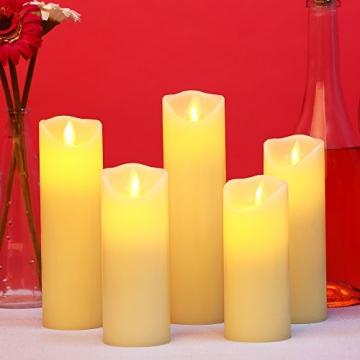 LED Kerzen,Flammenlose Kerzen 12/15/17/20/22CM Set aus 5 Echtwachs mit realistischen tanzenden LED Flammen und 10-Tasten Fernbedienung mit 2/4/6/8-Stunden Timer,300+ Stunden-YIWER (Elfenbein, 5×1) - 8