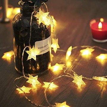 LED Lichterkette 4M/13.2ft Weihnachtsdeko 40er Warmweiß Sternen Lichterkette, Weihnachten Innen Deko 4.5v Lichterkette Batterie,Lichterkette Weihnachtsbaum,Lichterketten für Zimme,MEHRWEG - 1