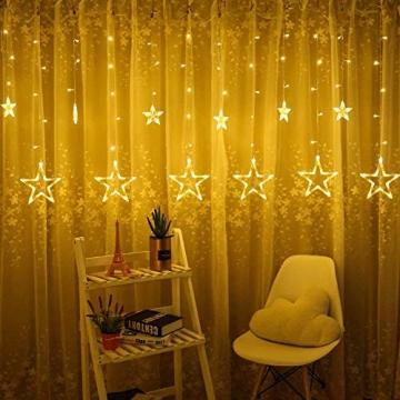 LED Lichterkette mit LED Kugel 12 Sterne 138 Leuchtioden Lichtervorhang Sternenvorhang 8 Modi Innen & Außenlichterkette Wasserdicht dekoration für Weihnachten Deko Festival Zimmer Fenster - Warmweiß - 2