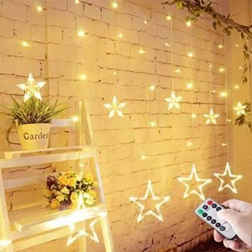 LED Lichterkette mit LED Kugel 12 Sterne 138 Leuchtioden Lichtervorhang Sternenvorhang 8 Modi Innen & Außenlichterkette Wasserdicht dekoration für Weihnachten Deko Festival Zimmer Fenster - Warmweiß - 1