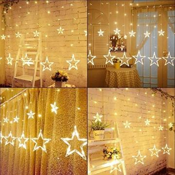 LED Lichterkette mit LED Kugel 12 Sterne 138 Leuchtioden Lichtervorhang Sternenvorhang 8 Modi Innen & Außenlichterkette Wasserdicht dekoration für Weihnachten Deko Festival Zimmer Fenster - Warmweiß - 6