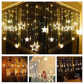 LED Lichterkette mit LED Kugel 12 Sterne 138 Leuchtioden Lichtervorhang Sternenvorhang 8 Modi Innen & Außenlichterkette Wasserdicht dekoration für Weihnachten Deko Festival Zimmer Fenster - Warmweiß - 7
