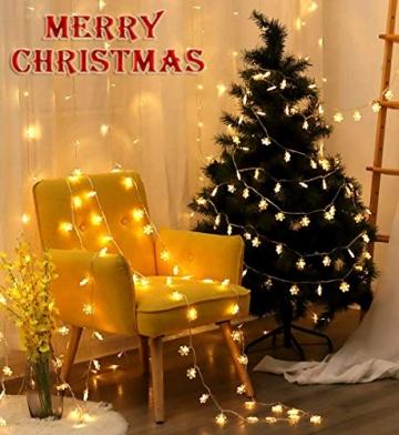 Led Lichterkette,Schneeflocke Lichterketten,Weihnachten Lichterkette 6M 40LED Warmweiß Lichterkette Weihnachtsbaum Stimmungslichte für Hochzeit Party Innen Außen Decoration Sterne Lichterkette - 2