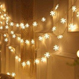 Led Lichterkette,Schneeflocke Lichterketten,Weihnachten Lichterkette 6M 40LED Warmweiß Lichterkette Weihnachtsbaum Stimmungslichte für Hochzeit Party Innen Außen Decoration Sterne Lichterkette - 1