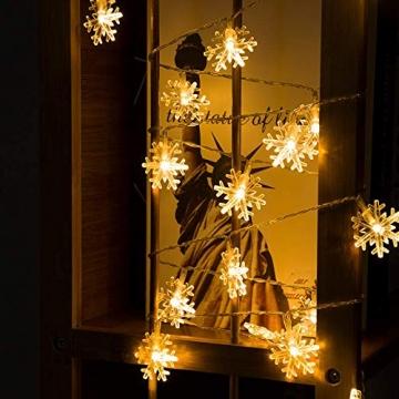 Led Lichterkette,Schneeflocke Lichterketten,Weihnachten Lichterkette 6M 40LED Warmweiß Lichterkette Weihnachtsbaum Stimmungslichte für Hochzeit Party Innen Außen Decoration Sterne Lichterkette - 7