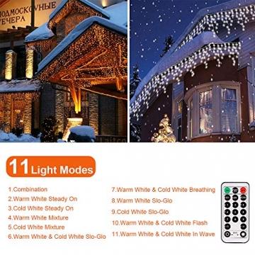 LED Lichtervorhang,B-right 12M 440 Led Lichterkette Eisregen Vorhang strombetrieben,Lichterkette außen&innen,Warmweiß und Kaltweiß Lichterkettenvorhang mit Fernbedienung,Weihnachten,Hochzeit,Party - 4