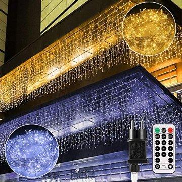 LED Lichtervorhang,B-right 12M 440 Led Lichterkette Eisregen Vorhang strombetrieben,Lichterkette außen&innen,Warmweiß und Kaltweiß Lichterkettenvorhang mit Fernbedienung,Weihnachten,Hochzeit,Party - 1