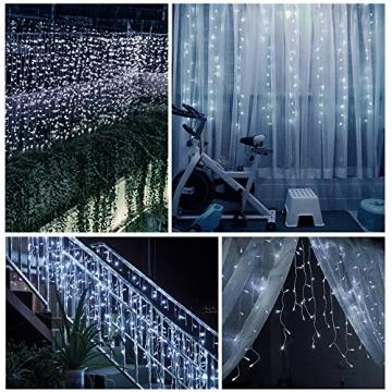 LED Lichtervorhang,B-right 12M 440 Led Lichterkette Eisregen Vorhang strombetrieben,Lichterkette außen&innen,Warmweiß und Kaltweiß Lichterkettenvorhang mit Fernbedienung,Weihnachten,Hochzeit,Party - 7