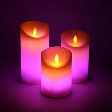LED RGB Kerzen Flammenloses Kerzenlichter, ALED LIGHT Multicolor Teelichter Warmweiß LED Kerze Lichter Docht Flackernde Echtwachs Elektrischer LED Lampe mit Fernbedienung Timerfunktion Haus Dekoration - 2