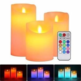 LED RGB Kerzen Flammenloses Kerzenlichter, ALED LIGHT Multicolor Teelichter Warmweiß LED Kerze Lichter Docht Flackernde Echtwachs Elektrischer LED Lampe mit Fernbedienung Timerfunktion Haus Dekoration - 1