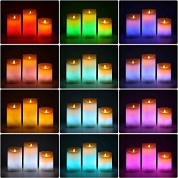 LED RGB Kerzen Flammenloses Kerzenlichter, ALED LIGHT Multicolor Teelichter Warmweiß LED Kerze Lichter Docht Flackernde Echtwachs Elektrischer LED Lampe mit Fernbedienung Timerfunktion Haus Dekoration - 7