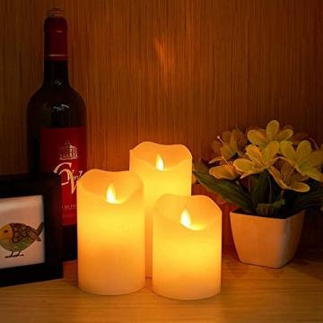 LED RGB Kerzen Flammenloses Kerzenlichter, ALED LIGHT Multicolor Teelichter Warmweiß LED Kerze Lichter Docht Flackernde Echtwachs Elektrischer LED Lampe mit Fernbedienung Timerfunktion Haus Dekoration - 8