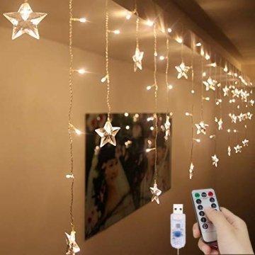 LED Vorhang Lichter USB Starry Lichterketten 1,5 m * 0,5 m 8 Modi Fernbedienung Sterne Lichterketten für Hochzeit Schlafzimmer Party Fenster Home Decoration - 1