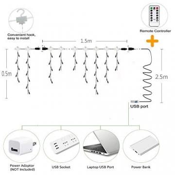 LED Vorhang Lichter USB Starry Lichterketten 1,5 m * 0,5 m 8 Modi Fernbedienung Sterne Lichterketten für Hochzeit Schlafzimmer Party Fenster Home Decoration - 6