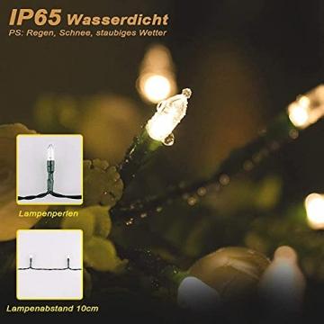 LED Weihnachten Lichterkette, KooPower 11M 100 Warmweiß Lichterketten Batterie mit 9 Modi Timer IP65 Wasserdicht Lichterkette Außen für Innen Außen Hochzeit Party Haushalt Zimmer Garten Halloween Deko - 3