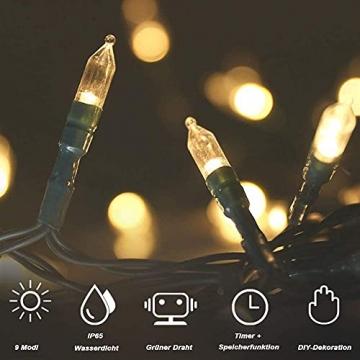 LED Weihnachten Lichterkette, KooPower 11M 100 Warmweiß Lichterketten Batterie mit 9 Modi Timer IP65 Wasserdicht Lichterkette Außen für Innen Außen Hochzeit Party Haushalt Zimmer Garten Halloween Deko - 4