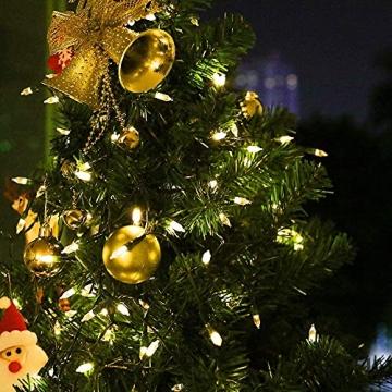 LED Weihnachten Lichterkette, KooPower 11M 100 Warmweiß Lichterketten Batterie mit 9 Modi Timer IP65 Wasserdicht Lichterkette Außen für Innen Außen Hochzeit Party Haushalt Zimmer Garten Halloween Deko - 6