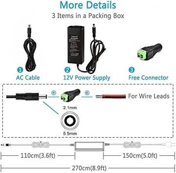 LEDMO 12V 5A 60W LED Netzteil Adapter Transformator,Ladegerät,Trafo für LED Stripes Streifen lichtband band stripe warmweiß weiß SMD 5050/3528/5630 - 5