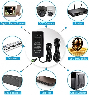 LEDMO 12V 5A 60W LED Netzteil Adapter Transformator,Ladegerät,Trafo für LED Stripes Streifen lichtband band stripe warmweiß weiß SMD 5050/3528/5630 - 6