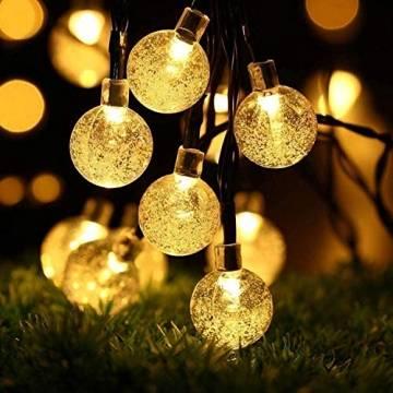 Leds Globe Lichterkette, Partybeleuchtung Außen,Warmweiße Kugel Lichterkette, Ideal Weihnachtsbeleuchtung für Innen, Zimmer,IP65 (Warm White, 10m/ 80 Lichter/Batteries) - 1