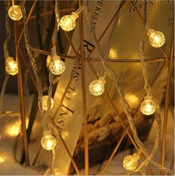 Leds Globe Lichterkette, Partybeleuchtung Außen,Warmweiße Kugel Lichterkette, Ideal Weihnachtsbeleuchtung für Innen, Zimmer,IP65 (Warm White, 10m/ 80 Lichter/Batteries) - 5