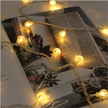 Leds Globe Lichterkette, Partybeleuchtung Außen,Warmweiße Kugel Lichterkette, Ideal Weihnachtsbeleuchtung für Innen, Zimmer,IP65 (Warm White, 10m/ 80 Lichter/Batteries) - 6