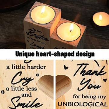 lefeindgdi Herzförmiger Kerzenhalter to My Bestie – Smile A Lot More – Kerzenhalter mit Kerze Geschenk für Beste Freundin (01) - 4