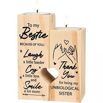 lefeindgdi Herzförmiger Kerzenhalter to My Bestie – Smile A Lot More – Kerzenhalter mit Kerze Geschenk für Beste Freundin (01) - 7