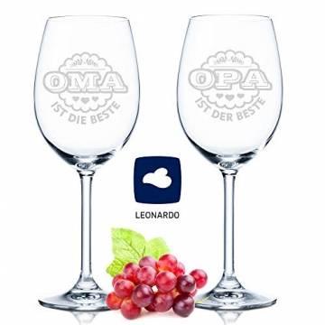 Leonardo Weingläser Oma ist die Beste & Opa ist der Beste im Set - Geschenk für Oma & Opa - Großeltern - 1