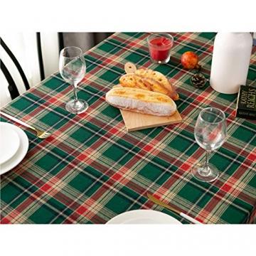 LHY DECORATION Klassische Karierte Weihnachtstischdecke Stoff Extra Große Tischdecke Für Dinnerpartys Zubehör Heimtextilien,Grün,140x250cm - 2